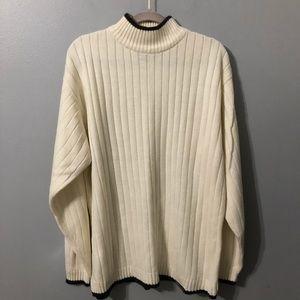 Cream Colored/Black Trim Acrylic Crew Neck Sweater